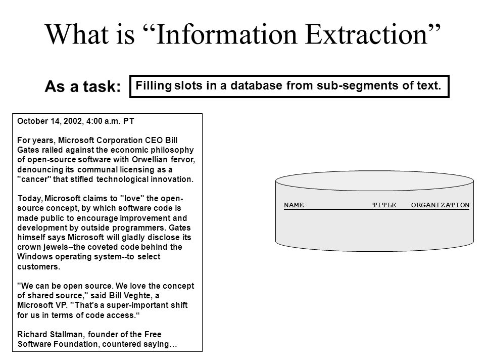What is Information Extraction Filling slots in a database from sub-segments of text.