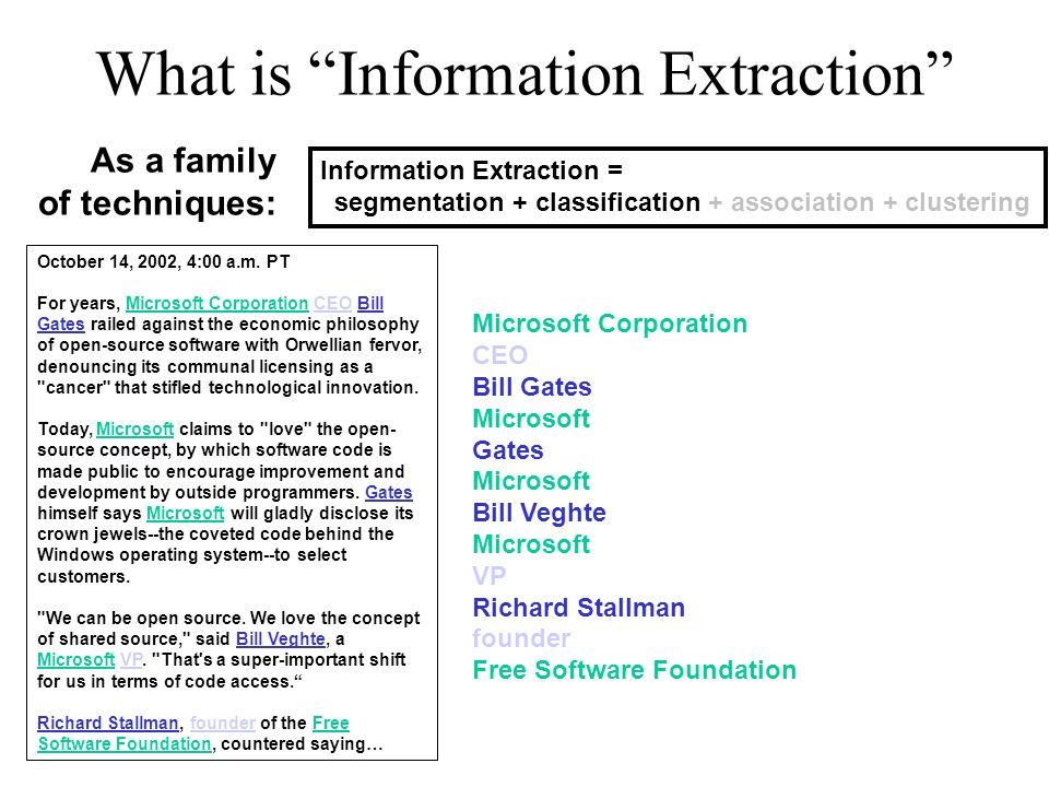 What is Information Extraction Information Extraction = segmentation + classification + association + clustering As a family of techniques: October 14, 2002, 4:00 a.m.