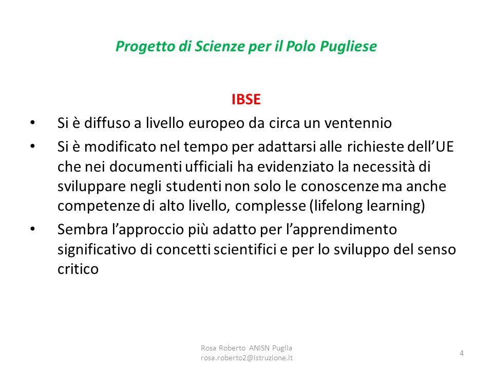 Progetto di Scienze per il Polo Pugliese Pilastri IBSE 1.Lesperienza è la base dellapprendimento scientifico 2.Le domande e i problemi devono essere significativi per gli studenti 3.Per svolgere le indagini scientifiche gli studenti devono acquisire abilità anche complesse 4.La scienza è cooperativa Rosa Roberto ANISN Puglia rosa.roberto2@istruzione.it 5