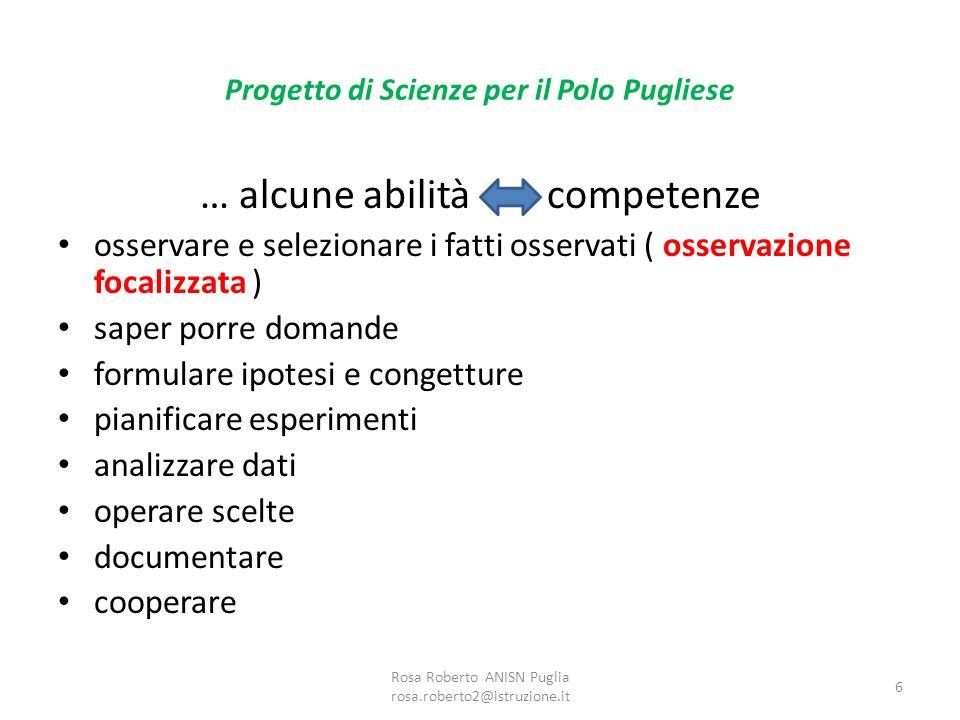 Progetto di Scienze per il Polo Pugliese … alcune abilità competenze osservare e selezionare i fatti osservati ( osservazione focalizzata ) saper porr