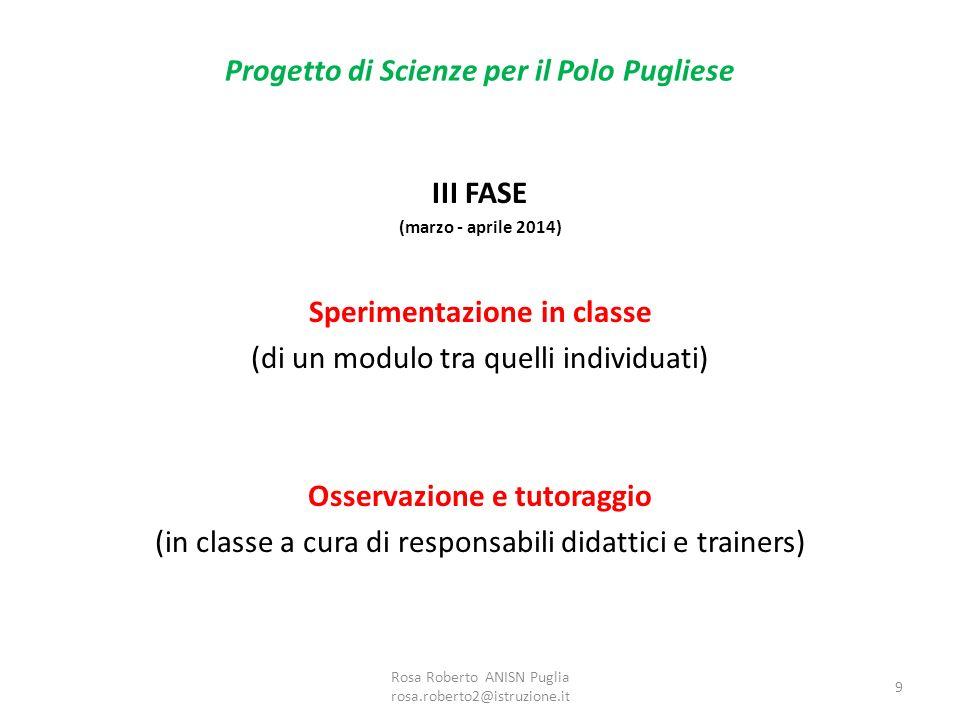 Progetto di Scienze per il Polo Pugliese III FASE (marzo - aprile 2014) Sperimentazione in classe (di un modulo tra quelli individuati) Osservazione e