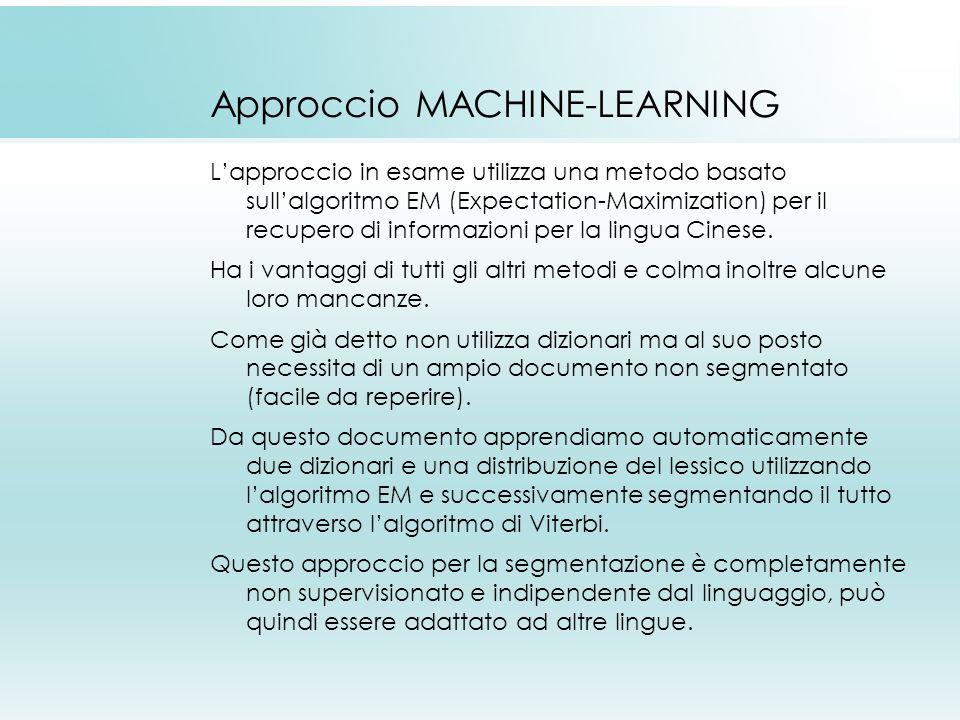 Approccio MACHINE-LEARNING Lapproccio in esame utilizza una metodo basato sullalgoritmo EM (Expectation-Maximization) per il recupero di informazioni per la lingua Cinese.