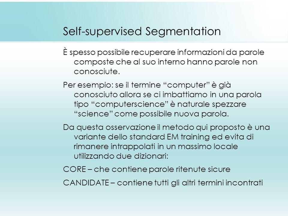 Self-supervised Segmentation È spesso possibile recuperare informazioni da parole composte che al suo interno hanno parole non conosciute. Per esempio