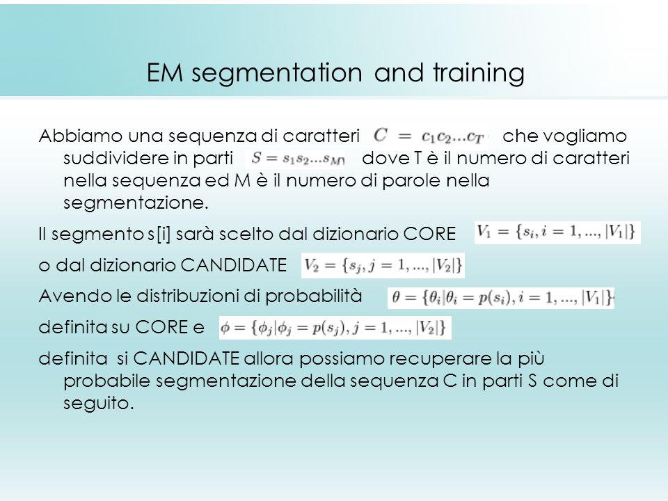 EM segmentation and training Abbiamo una sequenza di caratteri che vogliamo suddividere in parti dove T è il numero di caratteri nella sequenza ed M è il numero di parole nella segmentazione.