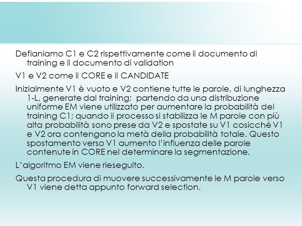 Defianiamo C1 e C2 rispettivamente come il documento di training e il documento di validation V1 e V2 come il CORE e il CANDIDATE Inizialmente V1 è vu
