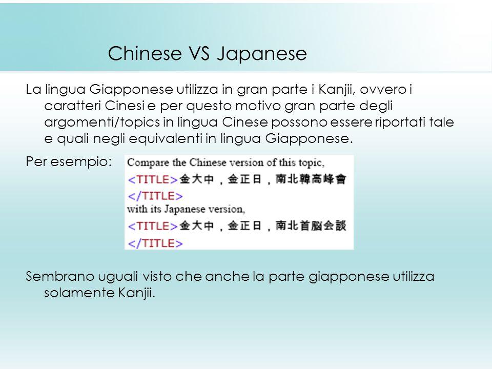 Chinese VS Japanese La lingua Giapponese utilizza in gran parte i Kanjii, ovvero i caratteri Cinesi e per questo motivo gran parte degli argomenti/topics in lingua Cinese possono essere riportati tale e quali negli equivalenti in lingua Giapponese.