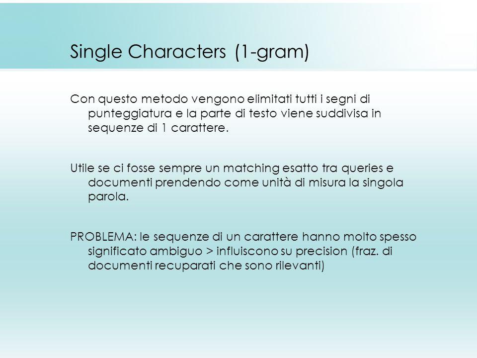 Single Characters (1-gram) Con questo metodo vengono elimitati tutti i segni di punteggiatura e la parte di testo viene suddivisa in sequenze di 1 carattere.