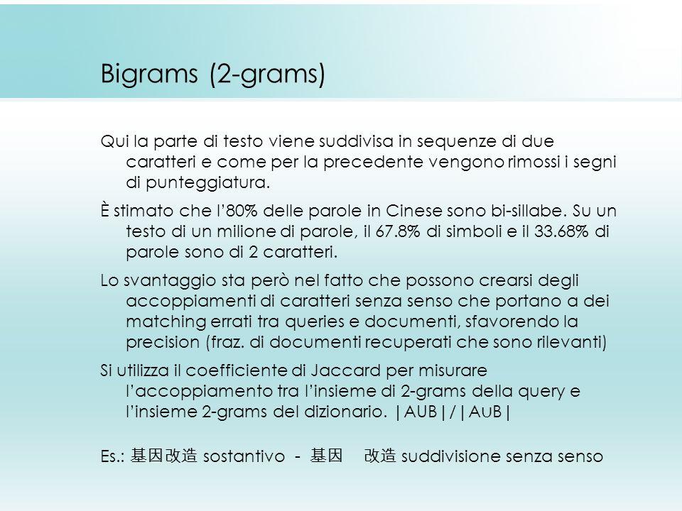 Bigrams (2-grams) Qui la parte di testo viene suddivisa in sequenze di due caratteri e come per la precedente vengono rimossi i segni di punteggiatura.