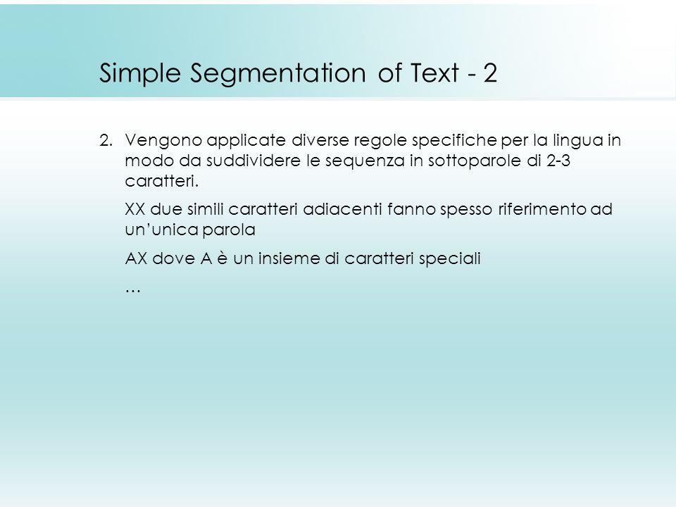 Simple Segmentation of Text - 2 2.Vengono applicate diverse regole specifiche per la lingua in modo da suddividere le sequenza in sottoparole di 2-3 caratteri.