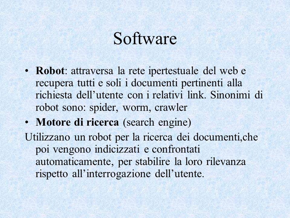 Software Robot: attraversa la rete ipertestuale del web e recupera tutti e soli i documenti pertinenti alla richiesta dellutente con i relativi link.
