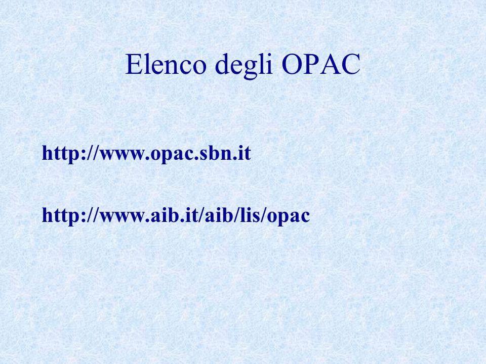 Elenco degli OPAC http://www.opac.sbn.it http://www.aib.it/aib/lis/opac