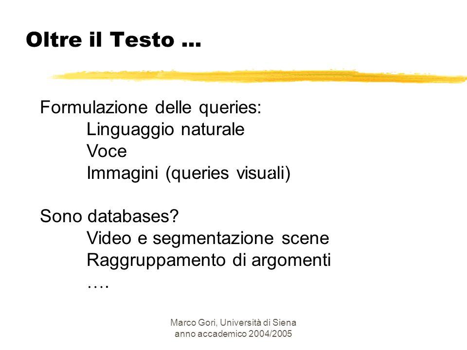 Marco Gori, Università di Siena anno accademico 2004/2005 Formulazione delle queries: Linguaggio naturale Voce Immagini (queries visuali) Sono databas