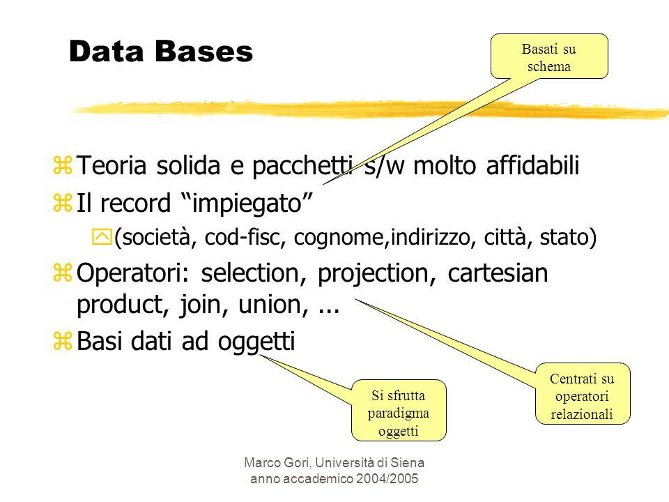 Marco Gori, Università di Siena anno accademico 2004/2005 Data Bases zTeoria solida e pacchetti s/w molto affidabili zIl record impiegato y(società, c