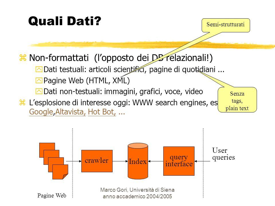 Marco Gori, Università di Siena anno accademico 2004/2005 Quali Dati? zNon-formattati (lopposto dei DB relazionali!) yDati testuali: articoli scientif
