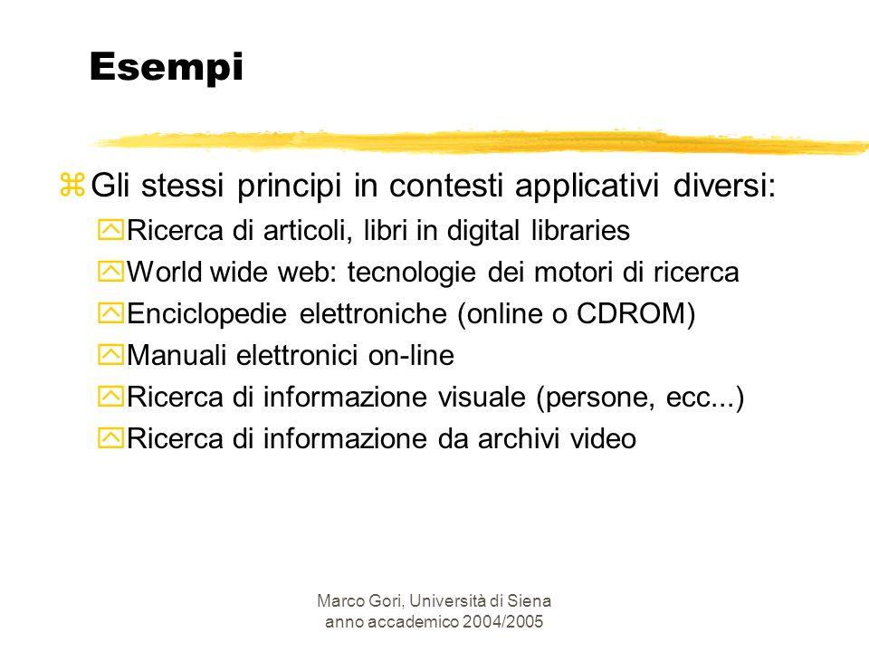 Marco Gori, Università di Siena anno accademico 2004/2005 Esempi zGli stessi principi in contesti applicativi diversi: yRicerca di articoli, libri in
