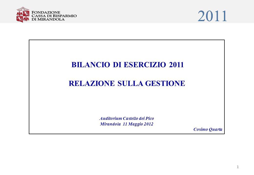 2011 BILANCIO DI ESERCIZIO 2011 RELAZIONE SULLA GESTIONE Auditorium Castello dei Pico Mirandola 11 Maggio 2012 Cosimo Quarta 1 2011