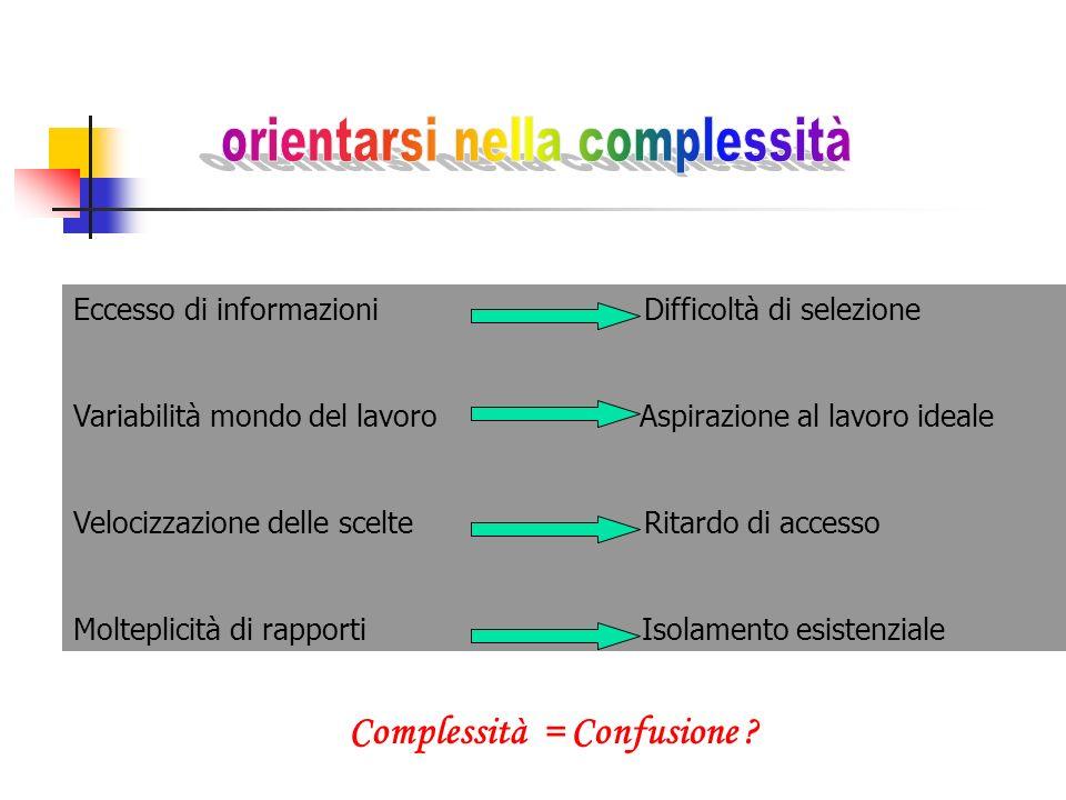 Eccesso di informazioni Difficoltà di selezione Variabilità mondo del lavoro Aspirazione al lavoro ideale Velocizzazione delle scelte Ritardo di acces