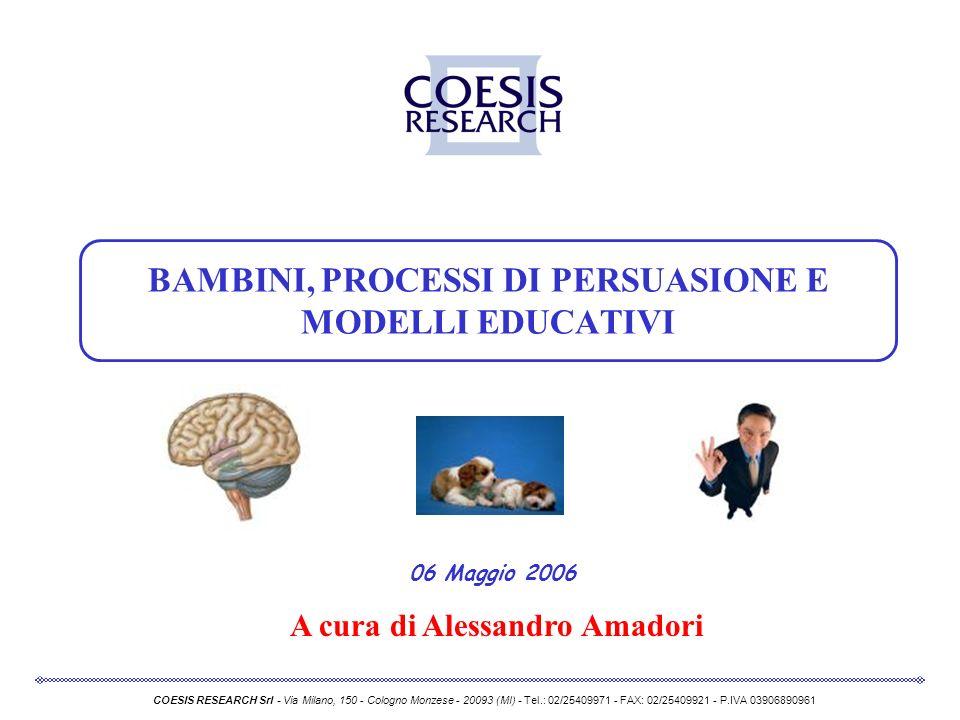 06 Maggio 2006 COESIS RESEARCH Srl - Via Milano, 150 - Cologno Monzese - 20093 (MI) - Tel.: 02/25409971 - FAX: 02/25409921 - P.IVA 03906890961 BAMBINI
