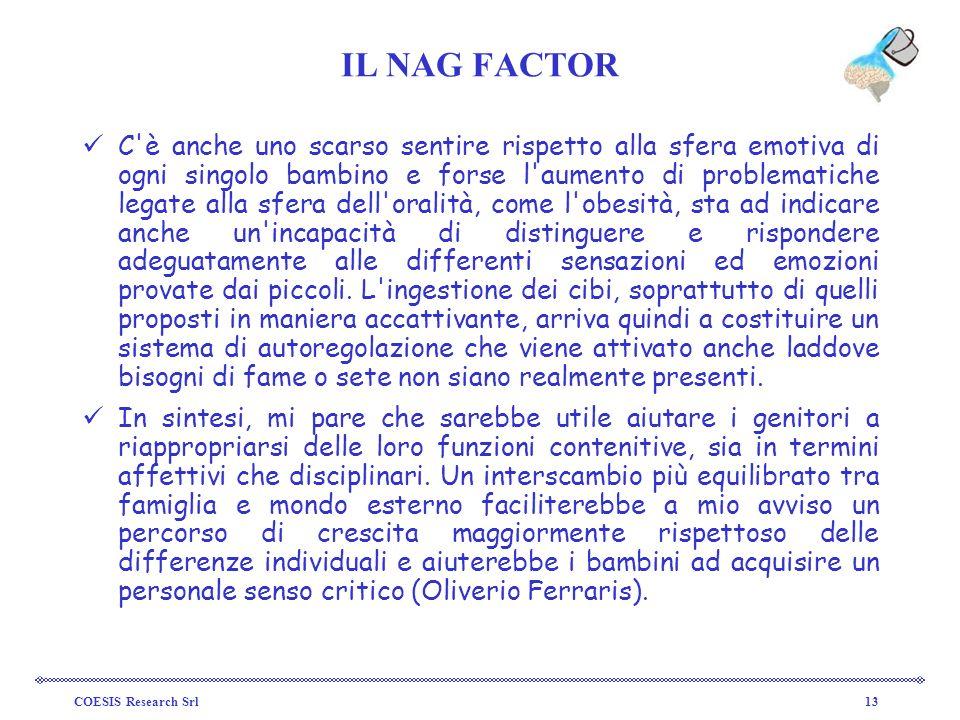 COESIS Research Srl13 IL NAG FACTOR C'è anche uno scarso sentire rispetto alla sfera emotiva di ogni singolo bambino e forse l'aumento di problematich