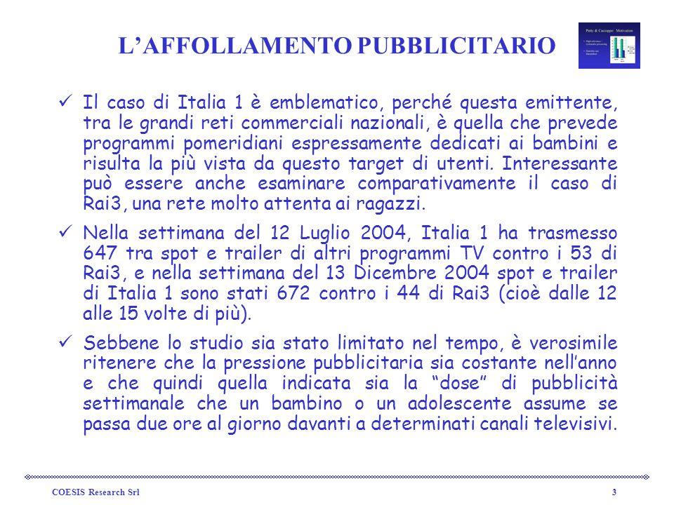 COESIS Research Srl3 LAFFOLLAMENTO PUBBLICITARIO Il caso di Italia 1 è emblematico, perché questa emittente, tra le grandi reti commerciali nazionali,