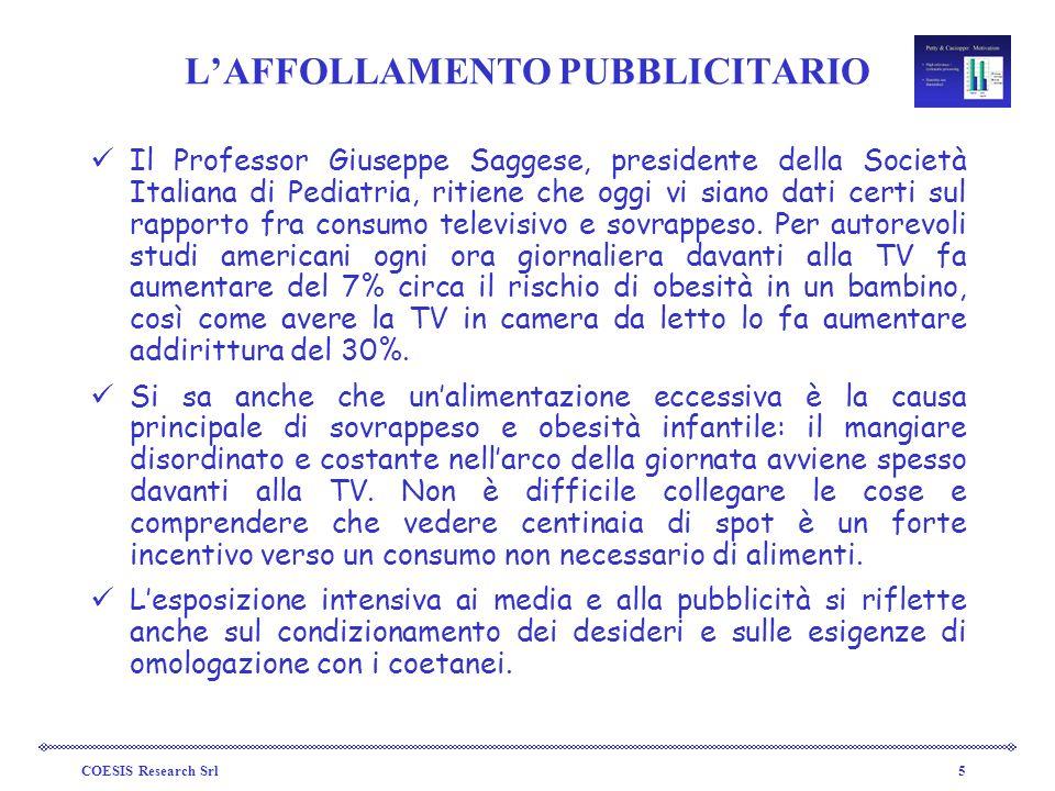 COESIS Research Srl5 LAFFOLLAMENTO PUBBLICITARIO Il Professor Giuseppe Saggese, presidente della Società Italiana di Pediatria, ritiene che oggi vi si