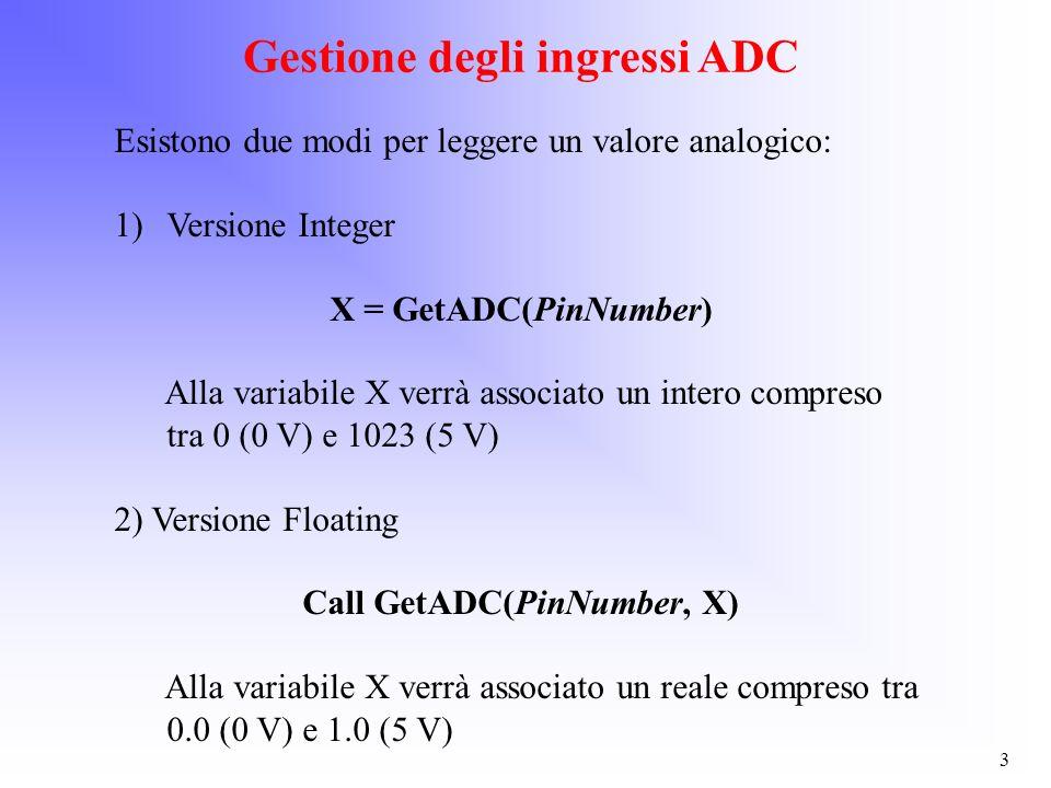 3 Gestione degli ingressi ADC Esistono due modi per leggere un valore analogico: 1)Versione Integer X = GetADC(PinNumber) Alla variabile X verrà assoc