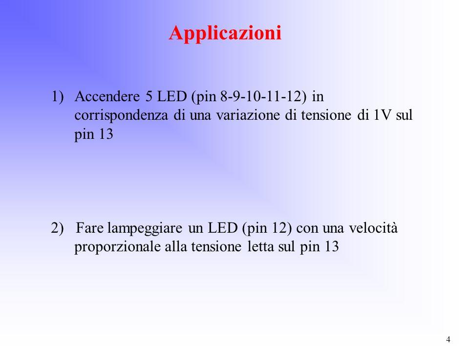4 Applicazioni 1)Accendere 5 LED (pin 8-9-10-11-12) in corrispondenza di una variazione di tensione di 1V sul pin 13 2) Fare lampeggiare un LED (pin 1