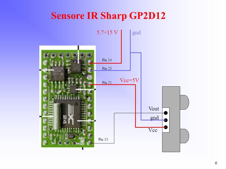 6 Sensore IR Sharp GP2D12 Vout gnd Vcc 5.7÷15 V Pin 24 Pin 23 gnd Vcc=5V Pin 21 Pin 13