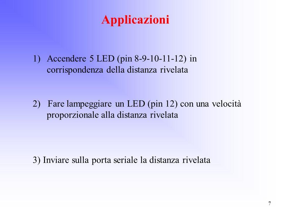 7 Applicazioni 1)Accendere 5 LED (pin 8-9-10-11-12) in corrispondenza della distanza rivelata 2) Fare lampeggiare un LED (pin 12) con una velocità pro