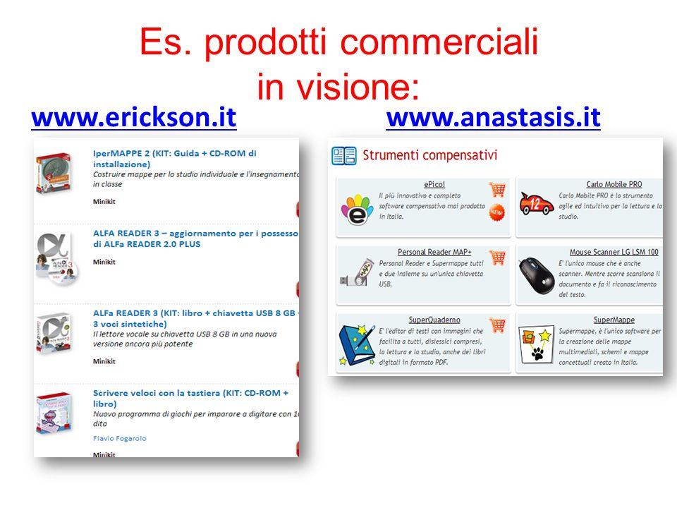 Es. prodotti commerciali in visione: www.erickson.itwww.anastasis.it