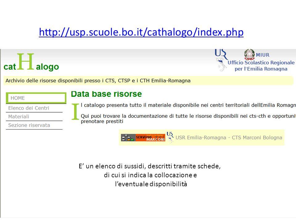 http://usp.scuole.bo.it/cathalogo/index.php E un elenco di sussidi, descritti tramite schede, di cui si indica la collocazione e leventuale disponibil