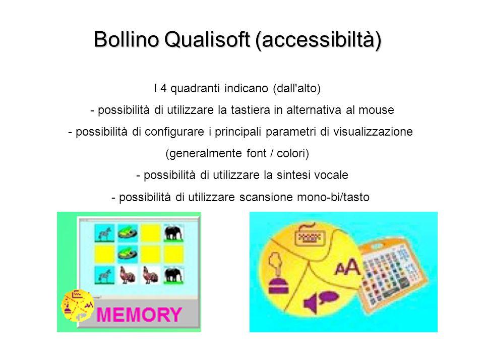 Bollino Qualisoft (accessibiltà) Bollino Qualisoft (accessibiltà) I 4 quadranti indicano (dall'alto) - possibilità di utilizzare la tastiera in altern