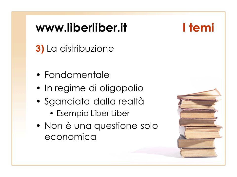www.liberliber.itI temi 3) La distribuzione Fondamentale In regime di oligopolio Sganciata dalla realtà Esempio Liber Liber Non è una questione solo economica