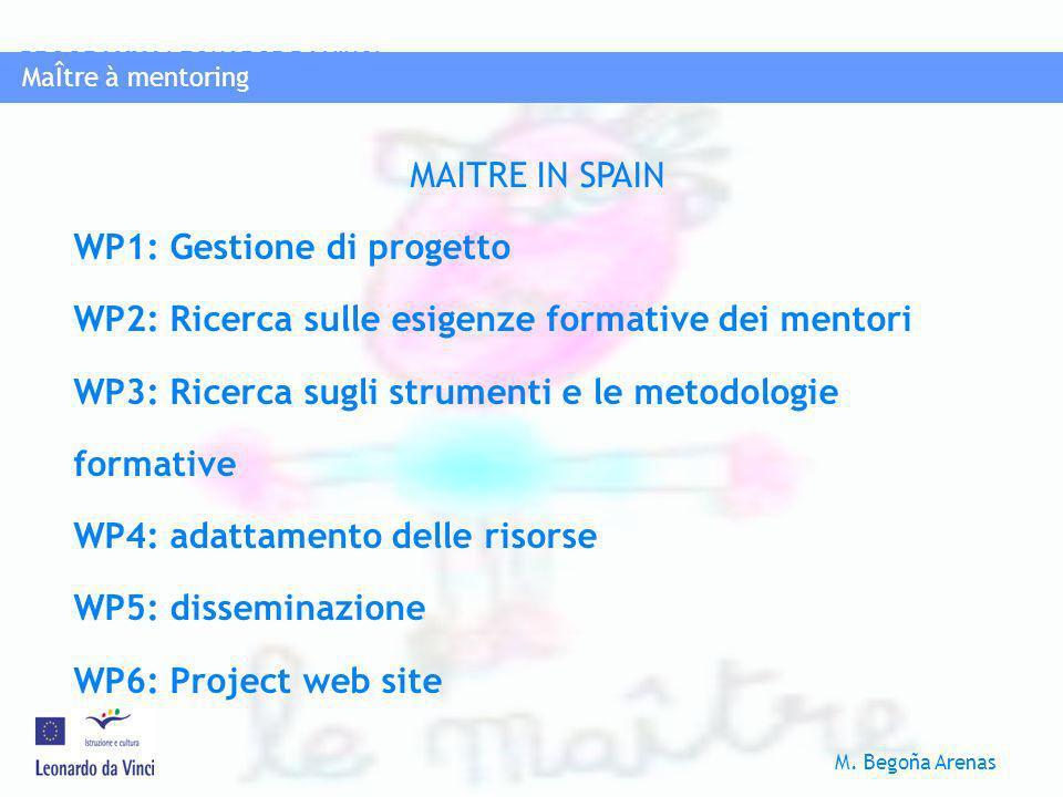 MaÎtre à mentoring PROGRAMMA LEONAROD DA VINCI M. Begoña Arenas MaÎtre à mentoring MAITRE IN SPAIN WP1: Gestione di progetto WP2: Ricerca sulle esigen