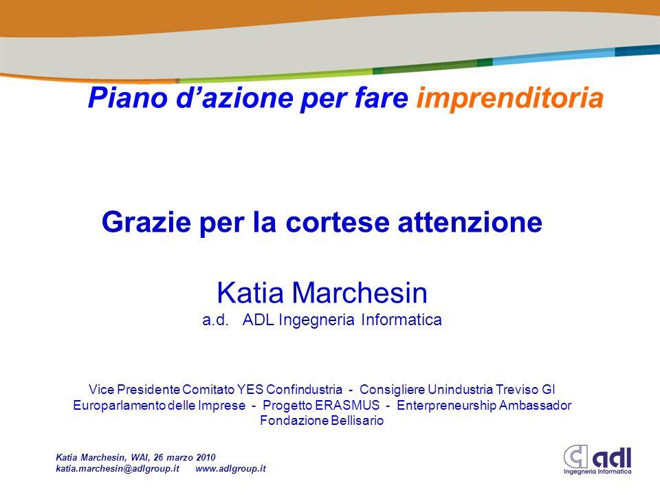 Piano dazione per fare imprenditoria Grazie per la cortese attenzione Katia Marchesin a.d.