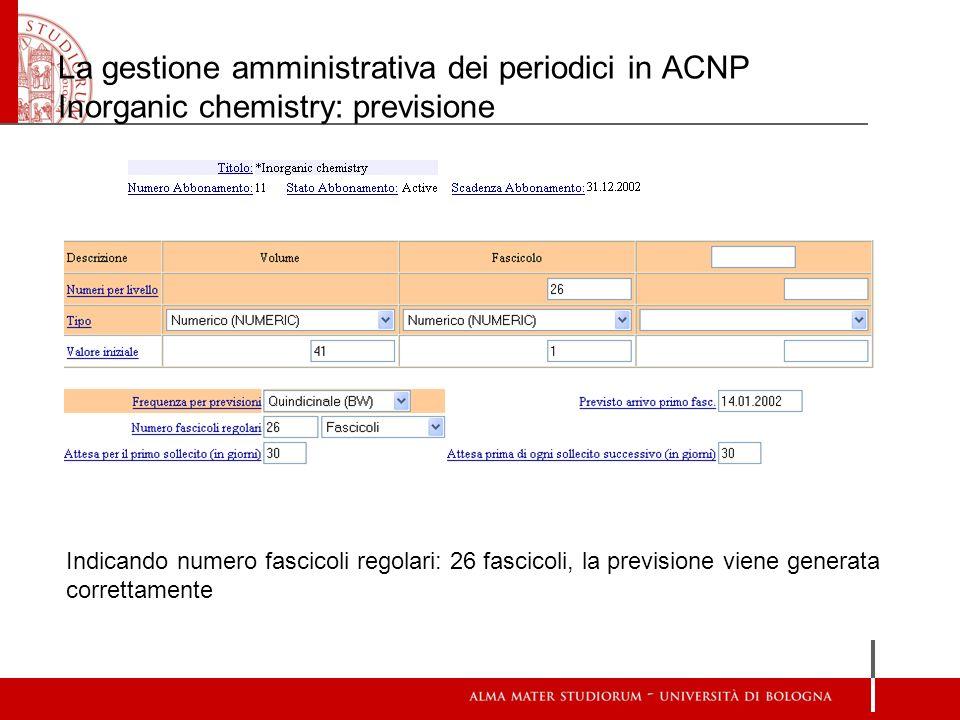 La gestione amministrativa dei periodici in ACNP Inorganic chemistry: previsione Indicando numero fascicoli regolari: 26 fascicoli, la previsione vien