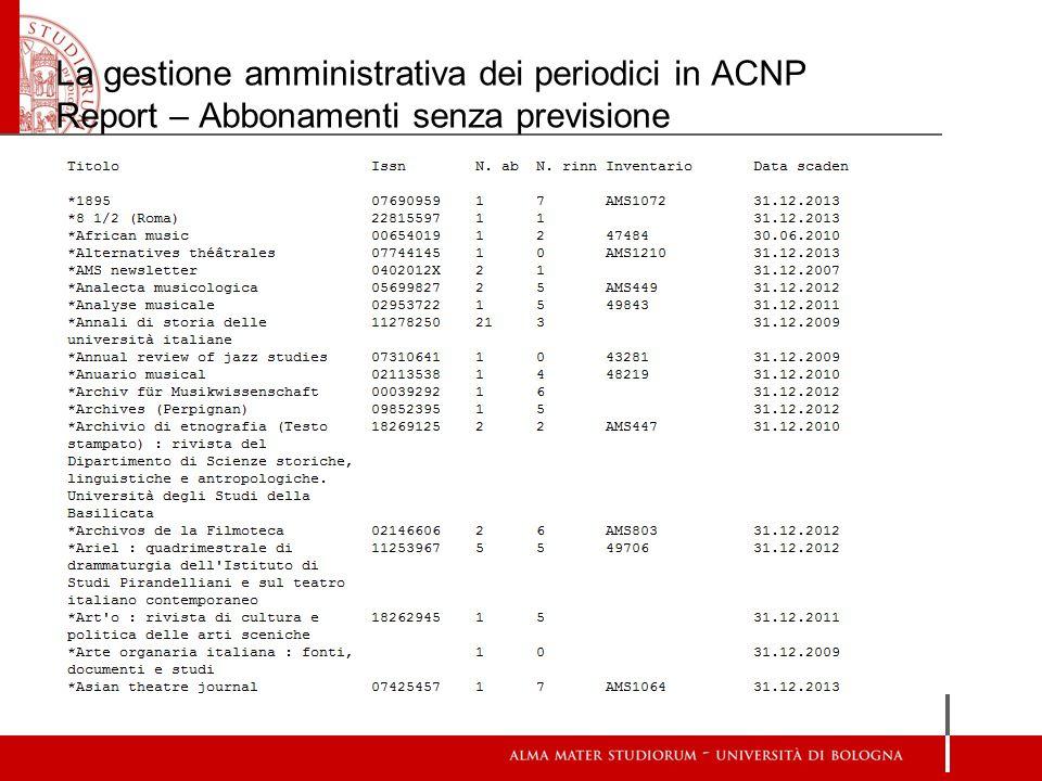 La gestione amministrativa dei periodici in ACNP Report – Abbonamenti senza previsione