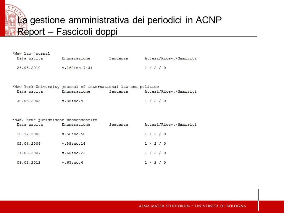 La gestione amministrativa dei periodici in ACNP Report – Fascicoli doppi