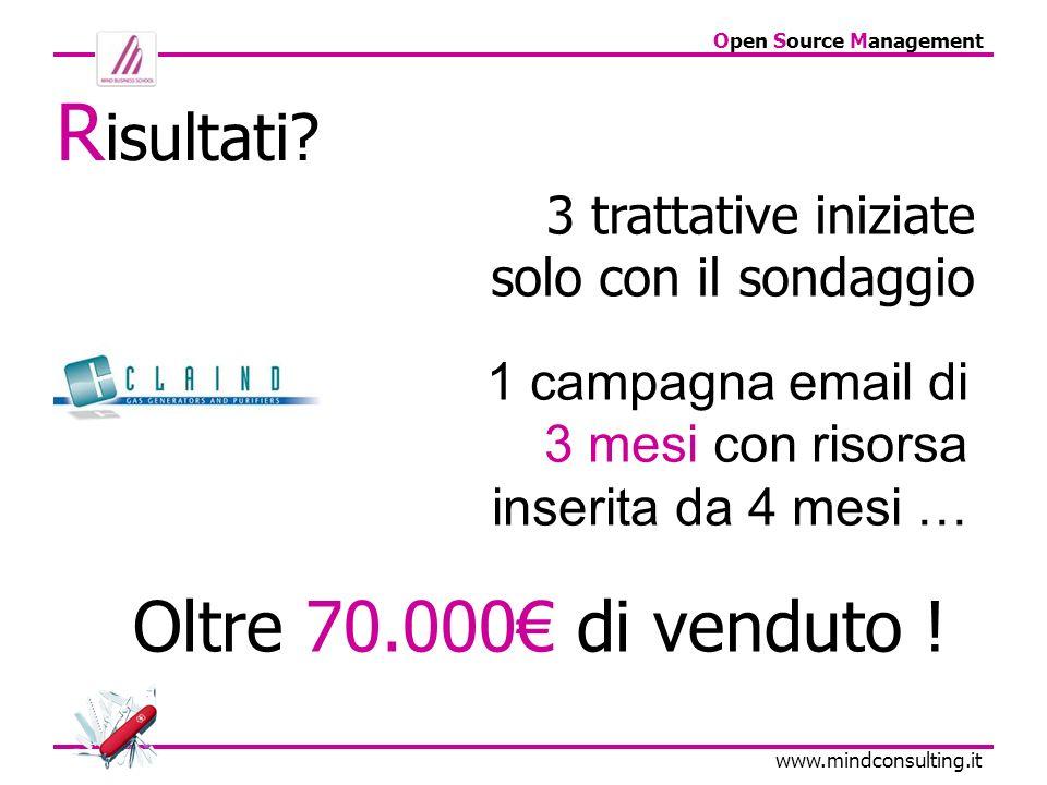 Open Source Management www.mindconsulting.it 3 trattative iniziate solo con il sondaggio Oltre 70.000 di venduto ! R isultati? 1 campagna email di 3 m