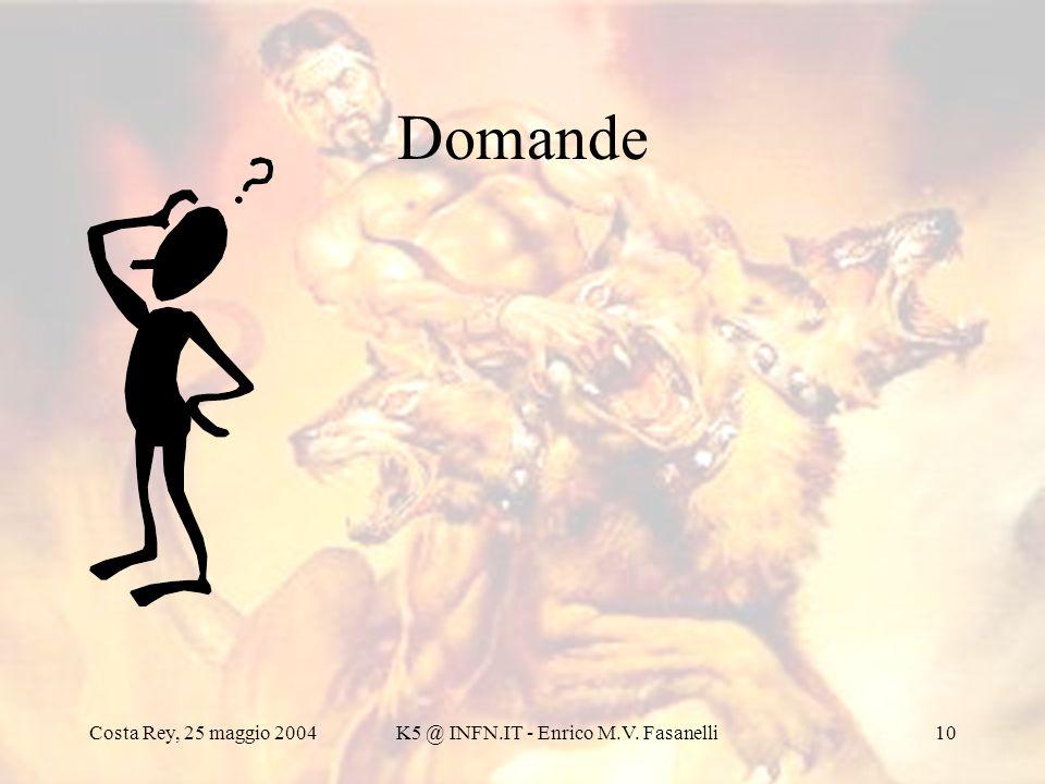 Costa Rey, 25 maggio 2004K5 @ INFN.IT - Enrico M.V. Fasanelli10 Domande