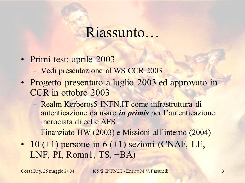 Costa Rey, 25 maggio 2004K5 @ INFN.IT - Enrico M.V. Fasanelli3 Riassunto… Primi test: aprile 2003 –Vedi presentazione al WS CCR 2003 Progetto presenta
