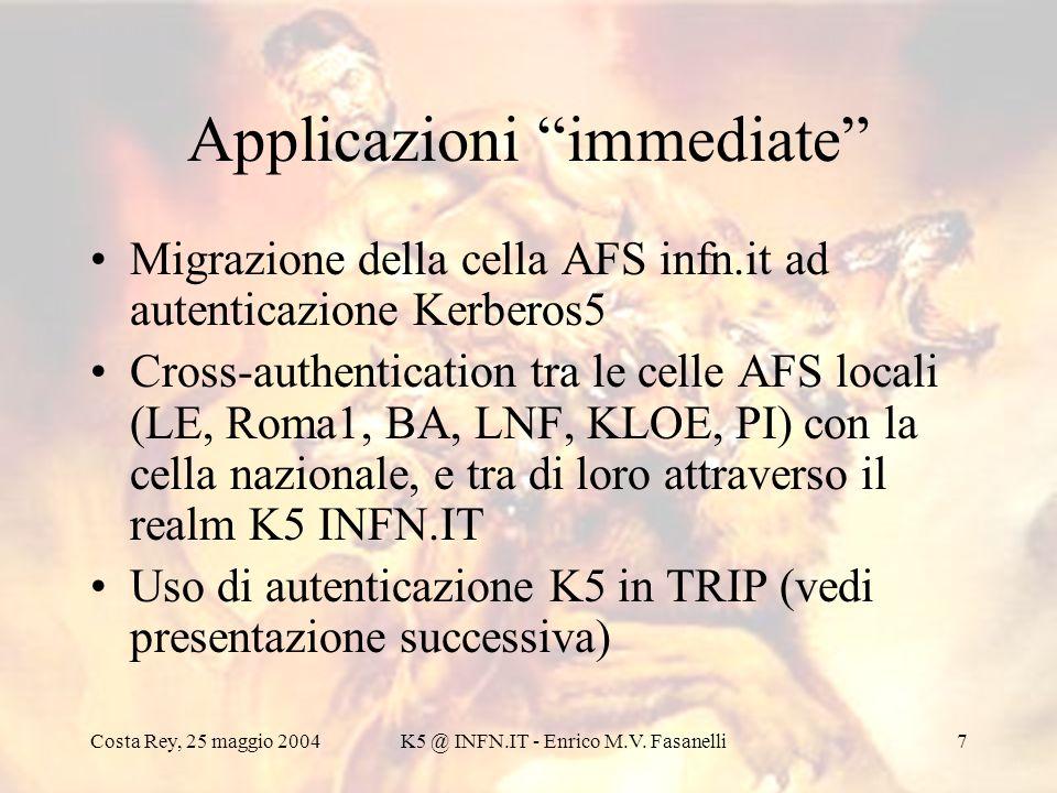 Costa Rey, 25 maggio 2004K5 @ INFN.IT - Enrico M.V. Fasanelli7 Applicazioni immediate Migrazione della cella AFS infn.it ad autenticazione Kerberos5 C