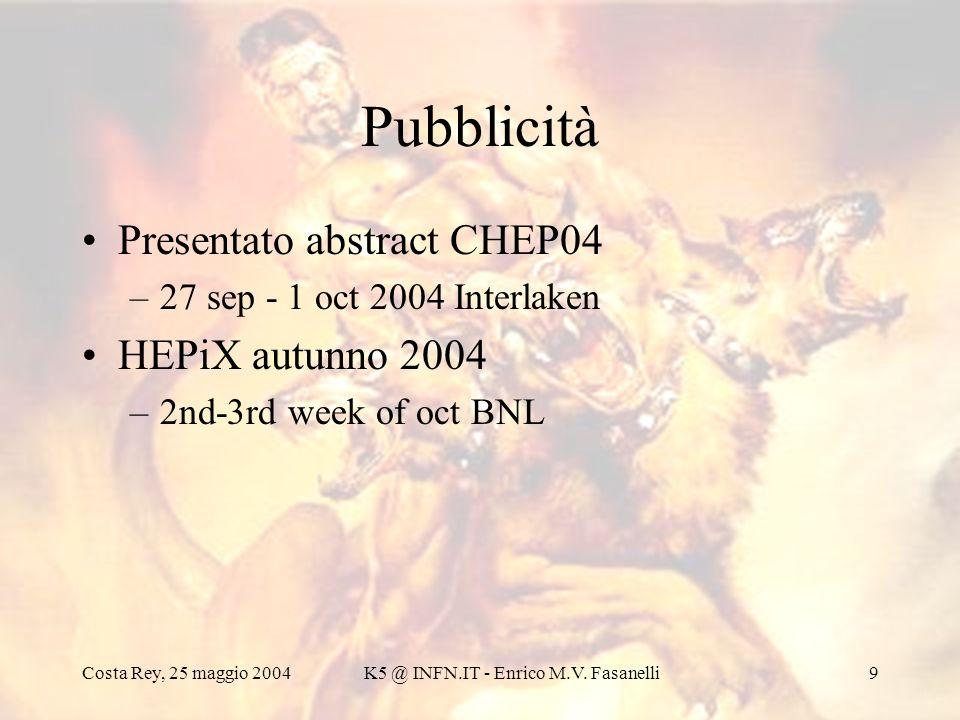 Costa Rey, 25 maggio 2004K5 @ INFN.IT - Enrico M.V. Fasanelli9 Pubblicità Presentato abstract CHEP04 –27 sep - 1 oct 2004 Interlaken HEPiX autunno 200
