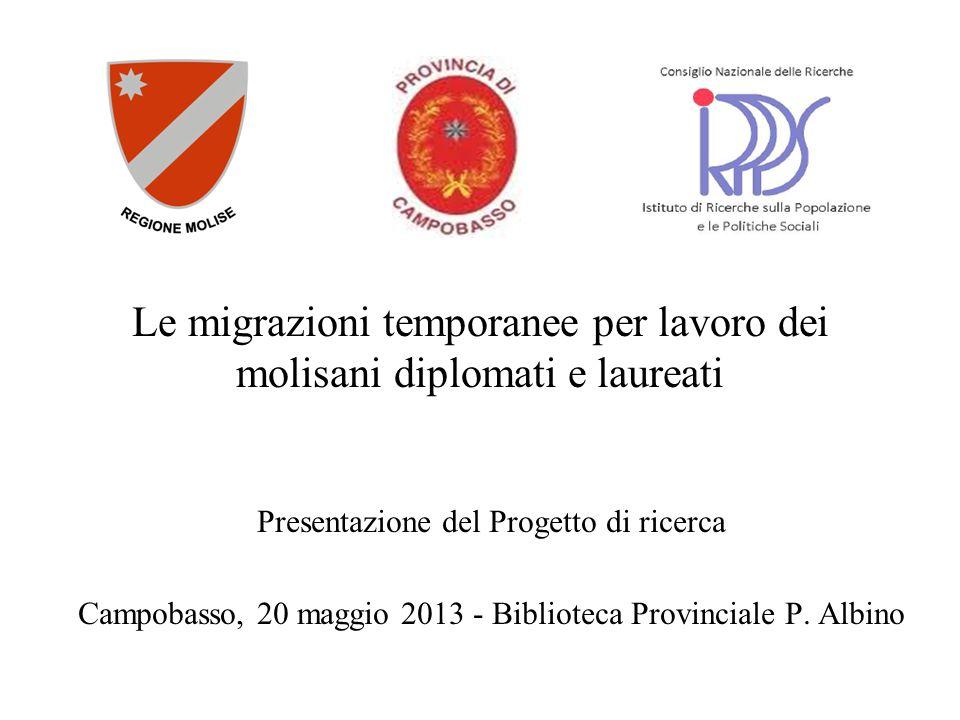 Le migrazioni temporanee per lavoro dei molisani diplomati e laureati Presentazione del Progetto di ricerca Campobasso, 20 maggio 2013 - Biblioteca Pr