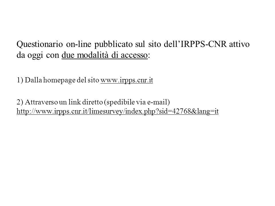 Questionario on-line pubblicato sul sito dellIRPPS-CNR attivo da oggi con due modalità di accesso: 1) Dalla homepage del sito www.irpps.cnr.it 2) Attr