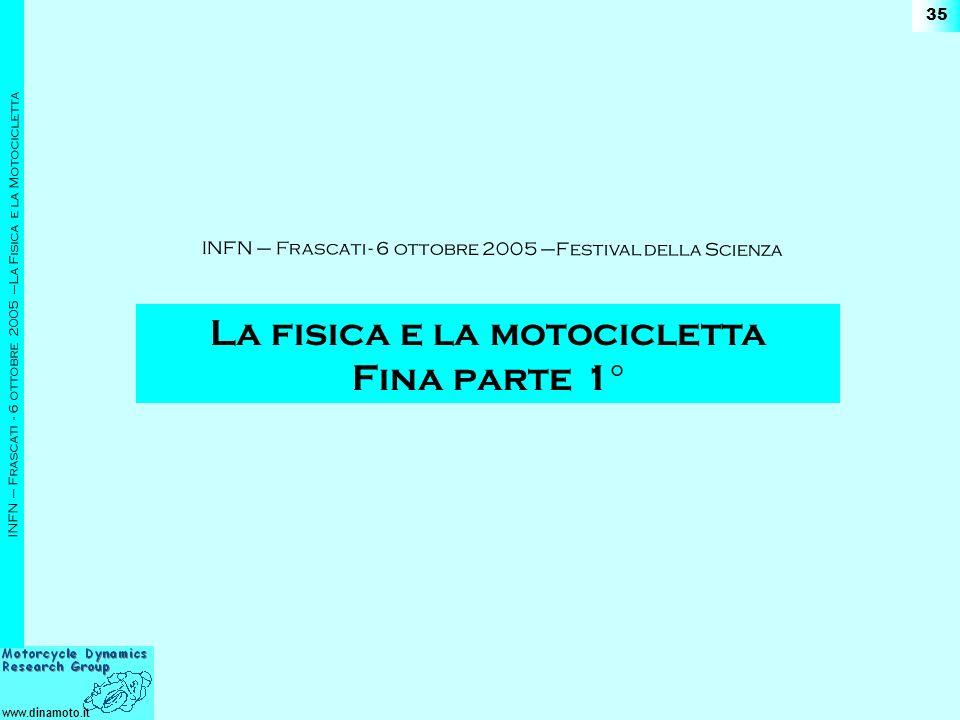 www.dinamoto.it INFN – Frascati - 6 ottobre 2005 –La Fisica e la Motocicletta 35 La fisica e la motocicletta Fina parte 1° INFN – Frascati - 6 ottobre 2005 –Festival della Scienza