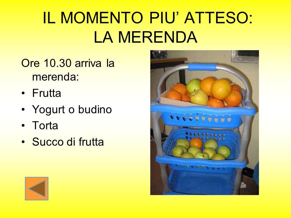 IL MOMENTO PIU ATTESO: LA MERENDA Ore 10.30 arriva la merenda: Frutta Yogurt o budino Torta Succo di frutta