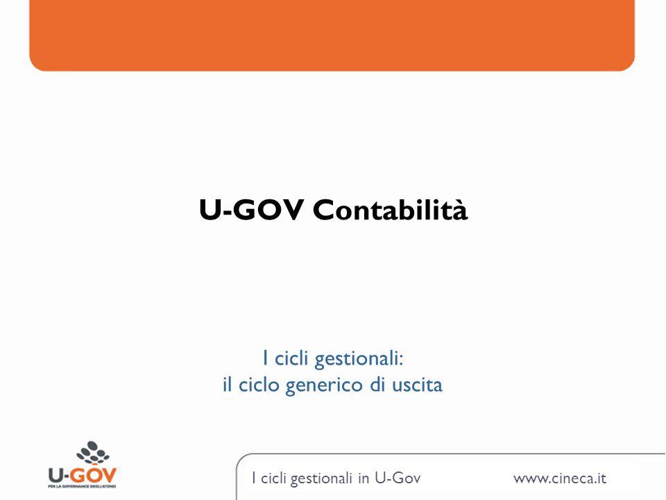 I cicli gestionali in U-Gov www.cineca.it U-GOV Contabilità I cicli gestionali: il ciclo generico di uscita
