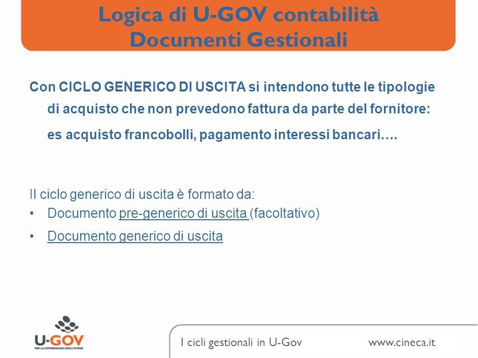 I cicli gestionali in U-Gov www.cineca.it Con CICLO GENERICO DI USCITA si intendono tutte le tipologie di acquisto che non prevedono fattura da parte