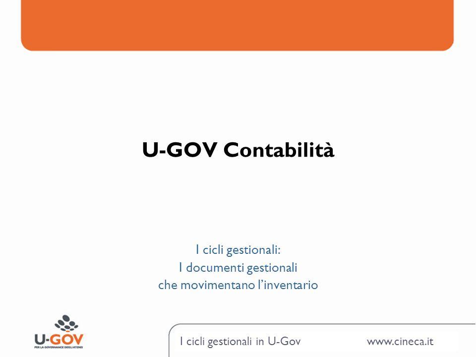 I cicli gestionali in U-Gov www.cineca.it U-GOV Contabilità I cicli gestionali: I documenti gestionali che movimentano linventario